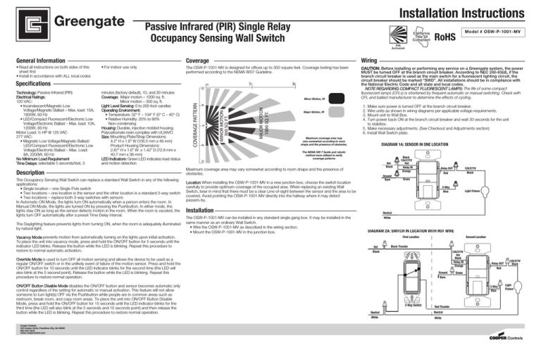 cooper lighting 120/277v pir/single level wall switch sensor, ms185  specification   manualzz  manualzz