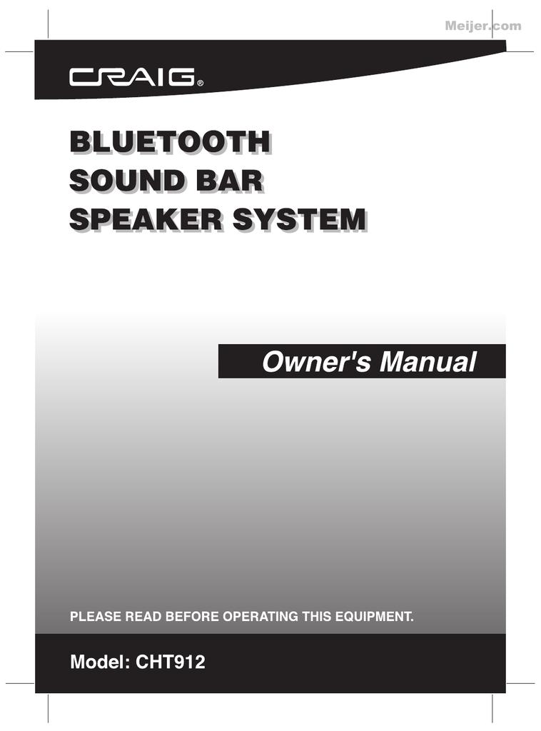 Craig CHT912 User`s manual | manualzz com