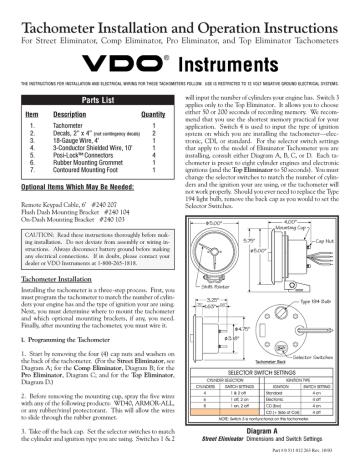 Vdo Tachometer Installation Manual, Vdo Rev Counter Wiring Diagram