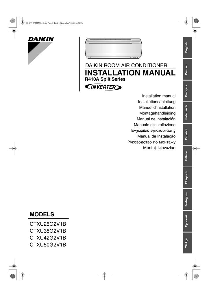 Daikin CTXU25G2V1B Installation Manual