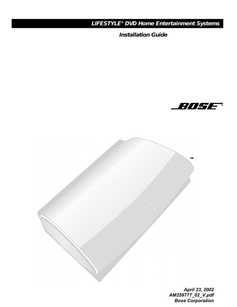 Bose Lifestyle® 28 DVD home entertainment system, Lifestyle 28, AM259777,  lifestyle 35 Installation guide | ManualzzManualzz