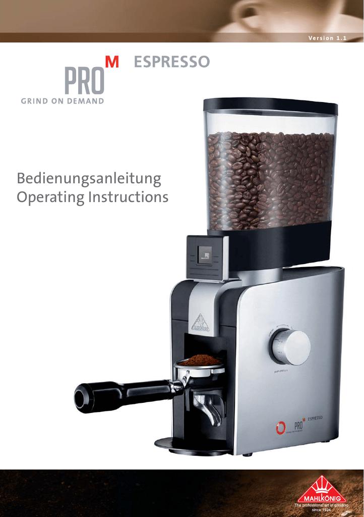 Mahlkonig Pro M espresso Operating instructions   manualzz.com