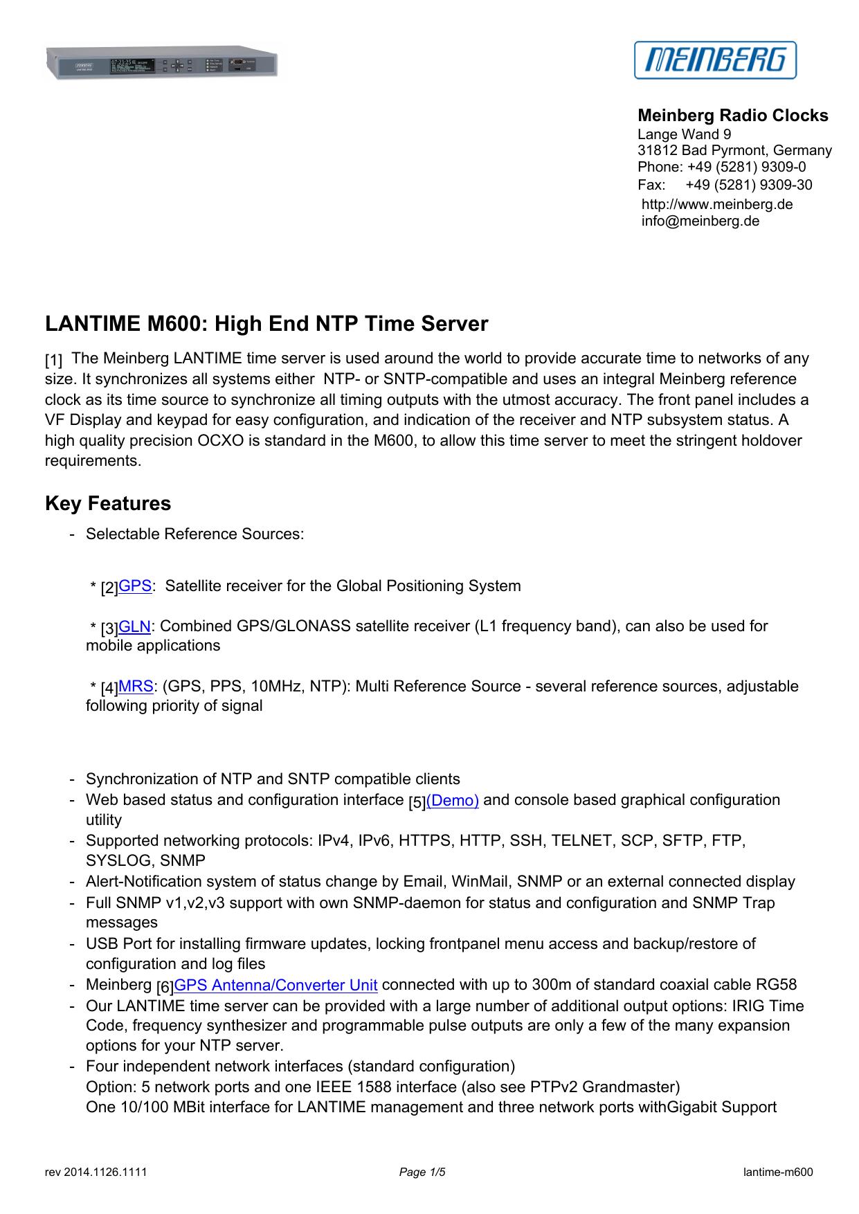 LANTIME M600: High End NTP Time Server   manualzz com