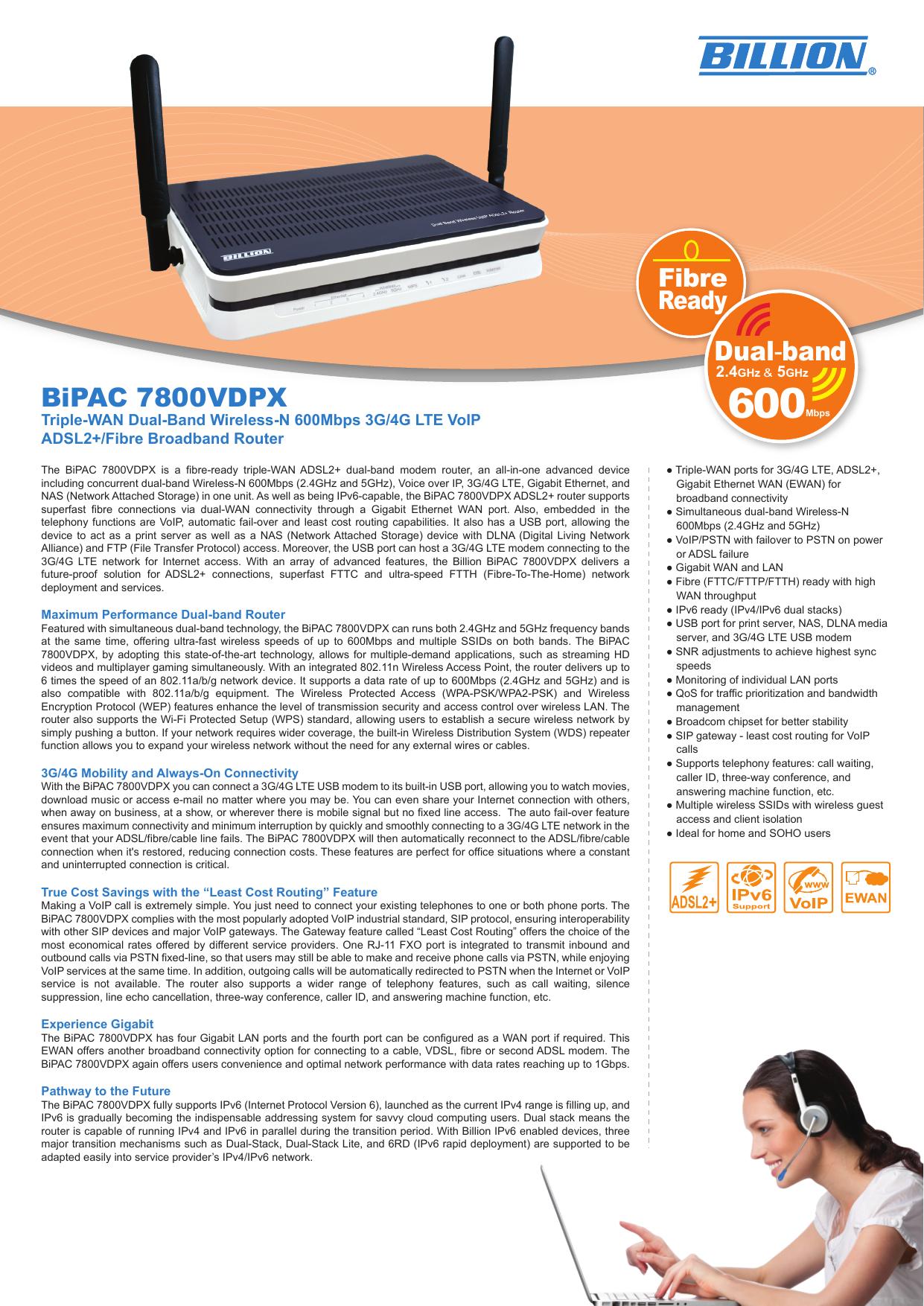 //Fi Billion 7800VDOX Triple-WAN Dual Band Wireless-N 600 Mbps 3G//LTE VoIP ADSL2