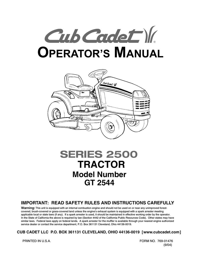 Cub Cadet GT 2544 Operator`s manual | manualzz com