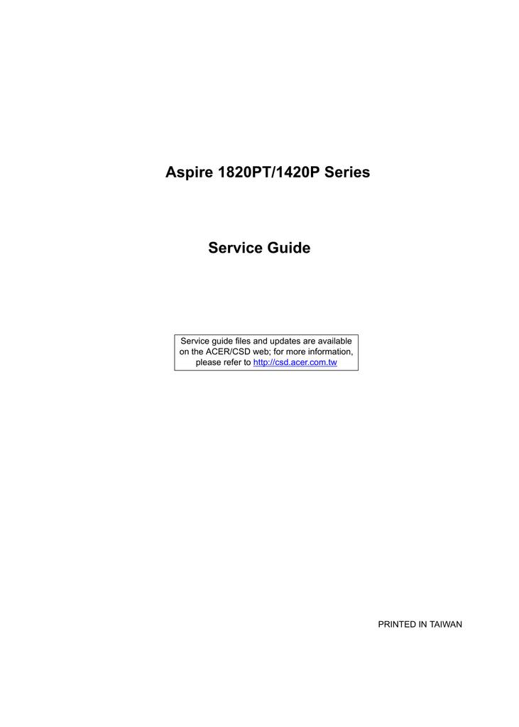 Acer Aspire M1420 Technical information | manualzz com