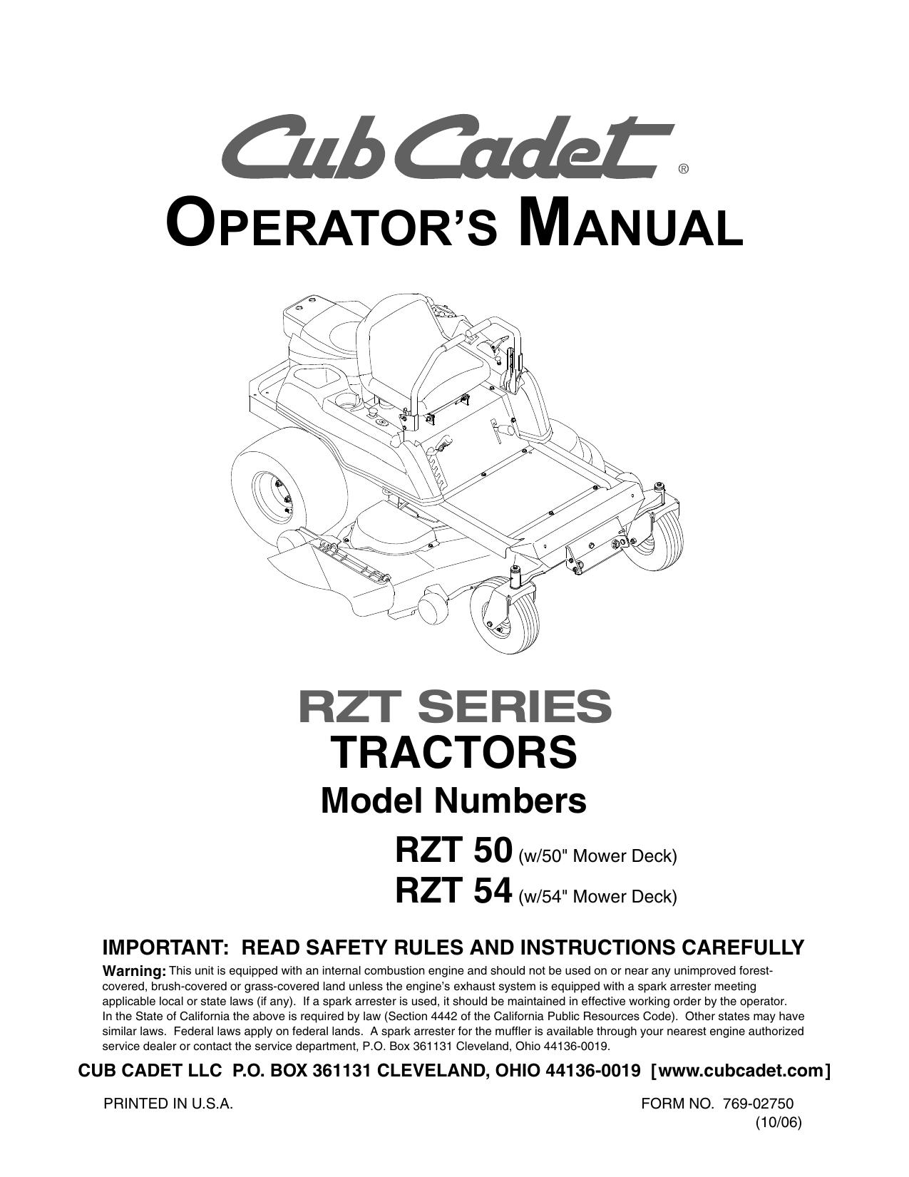 [DIAGRAM_3US]  Cub Cadet RZT 54 Operator`s manual | Manualzz | Cub Cadet Rzt 50 Schematic |  | manualzz