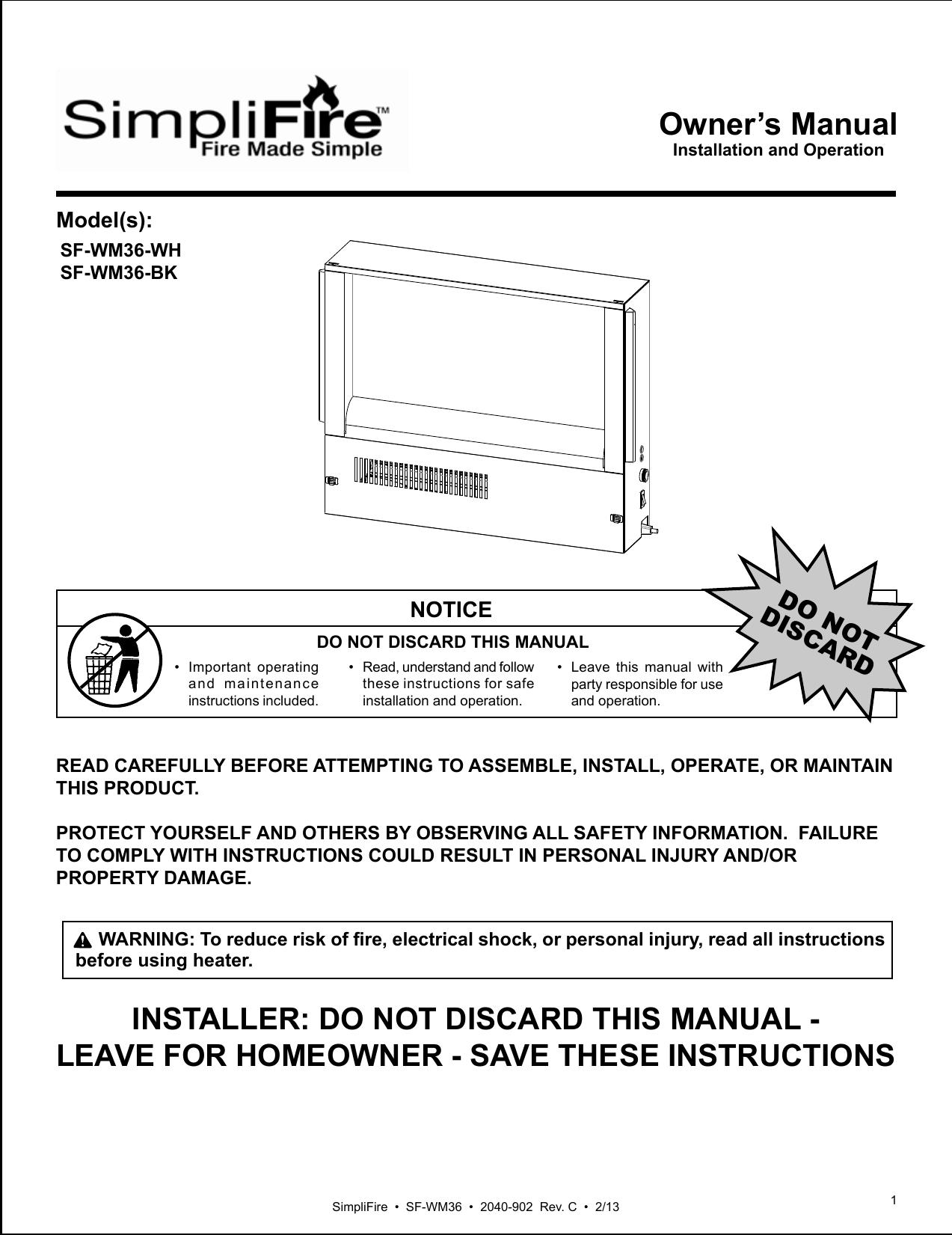 Simplifire Sf Wm36 Wh Owner S Manual Manualzz