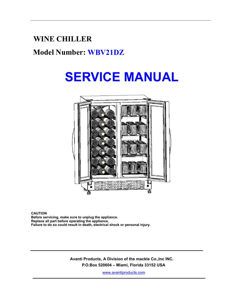 Avanti Wbv21dz Service Manual Wine Cooler Wiring Diagram