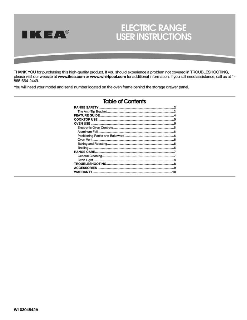 ELECTRIC RANGE USER INSTRUCTIONS | manualzz com