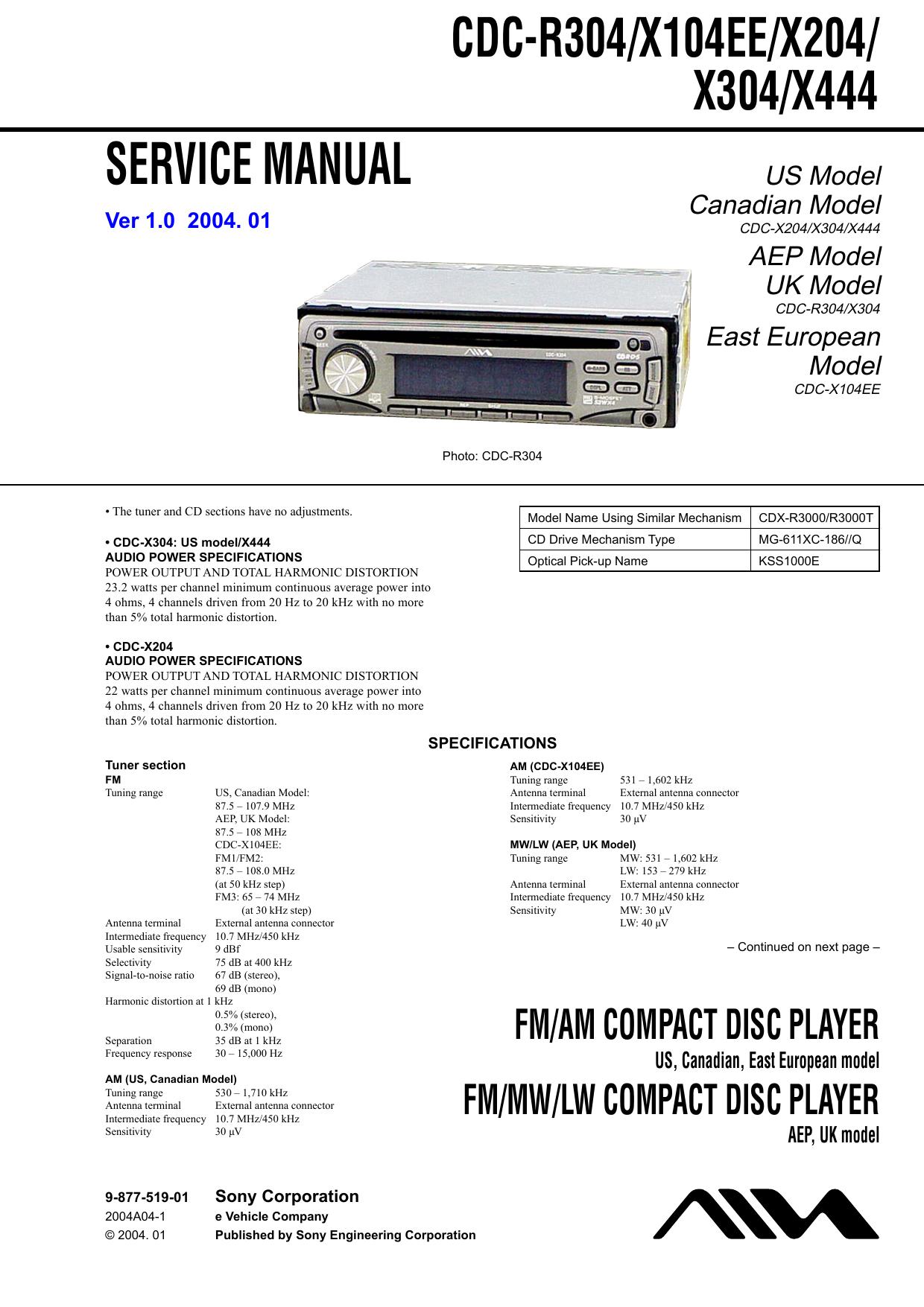 Sony Cdc X304 Wiring Diagram