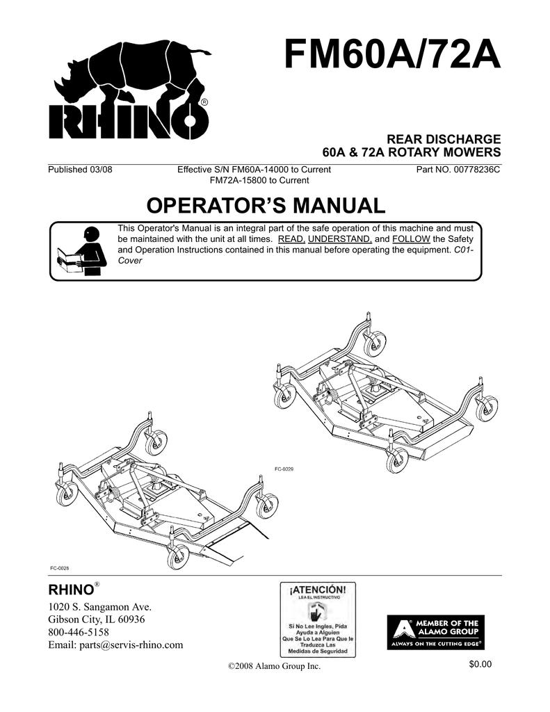 RHINO FM60A Operator`s manual | manualzz com
