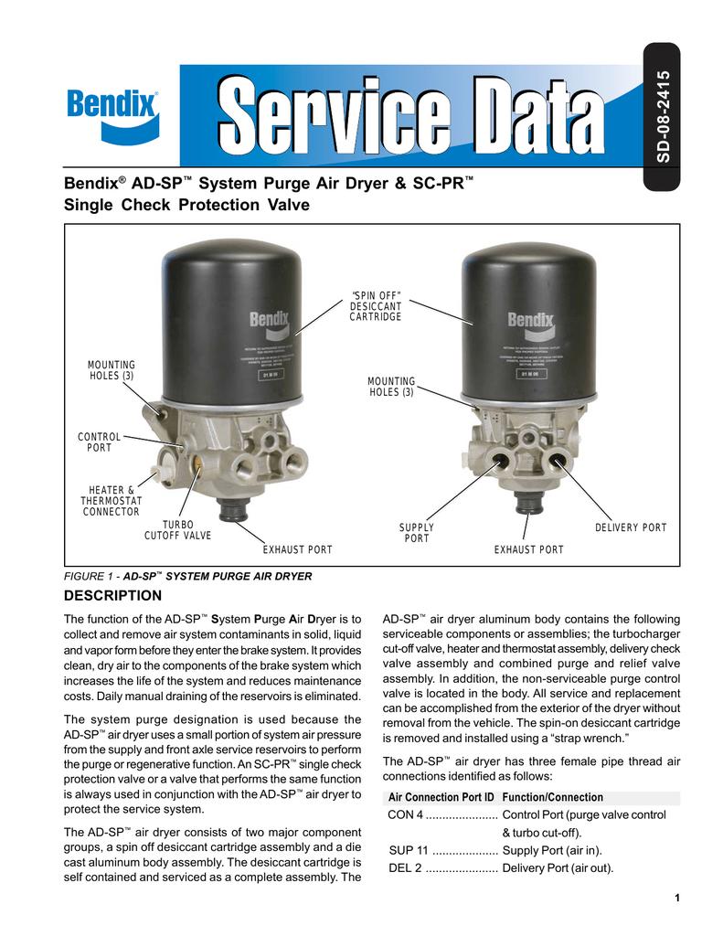 Bendix Ad 1 Air Dryer Service Manual Schematic