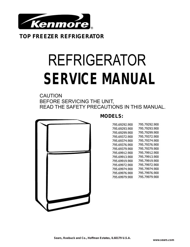 Service Manual For Kenmore Refrigerator Dixon 4423 Wiring Diagram Sears 900 Manualzz Com Rh Model 106 Elite