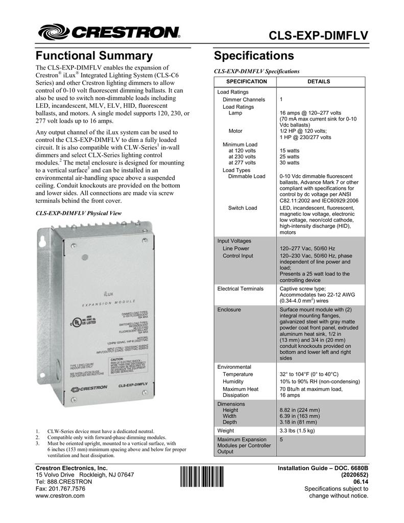 Crestron CLS-C6 Specifications | Manualzzmanualzz