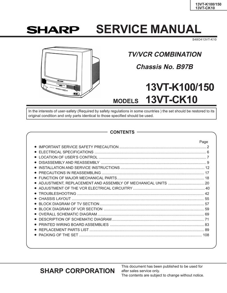 sharp 13vt-k100 service manual