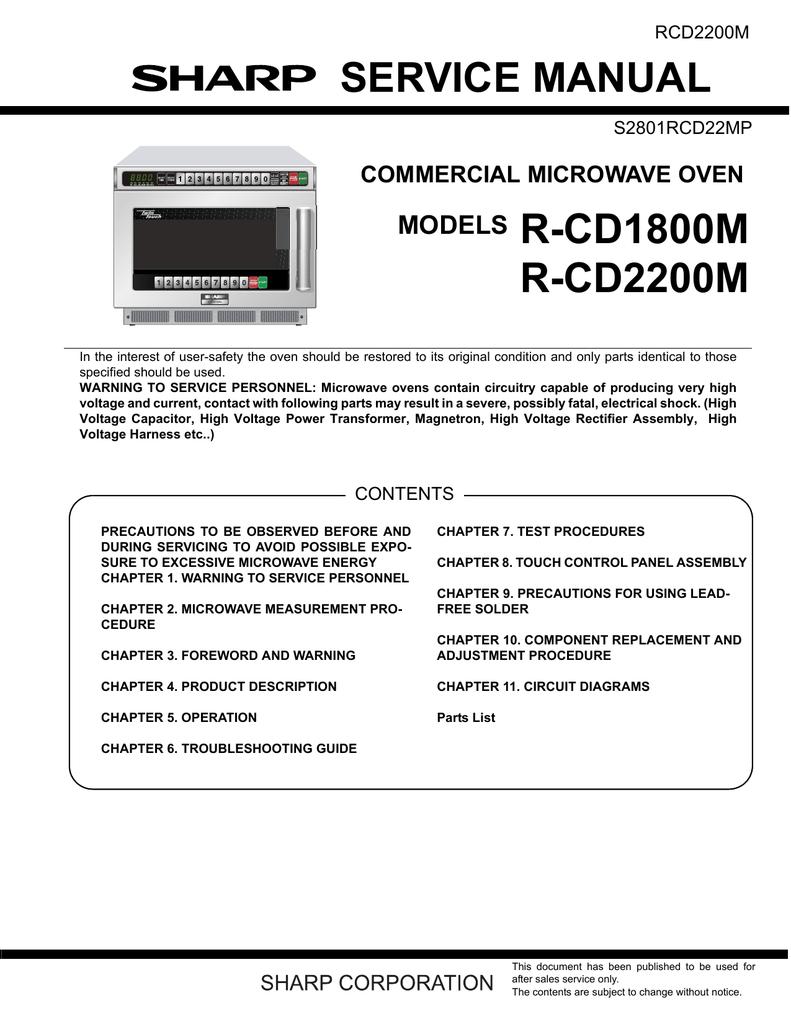 sharp cd2200m service manual manualzz com rh manualzz com Sharp Microwave Drawer Oven Sharp Carousel Microwave User Manual