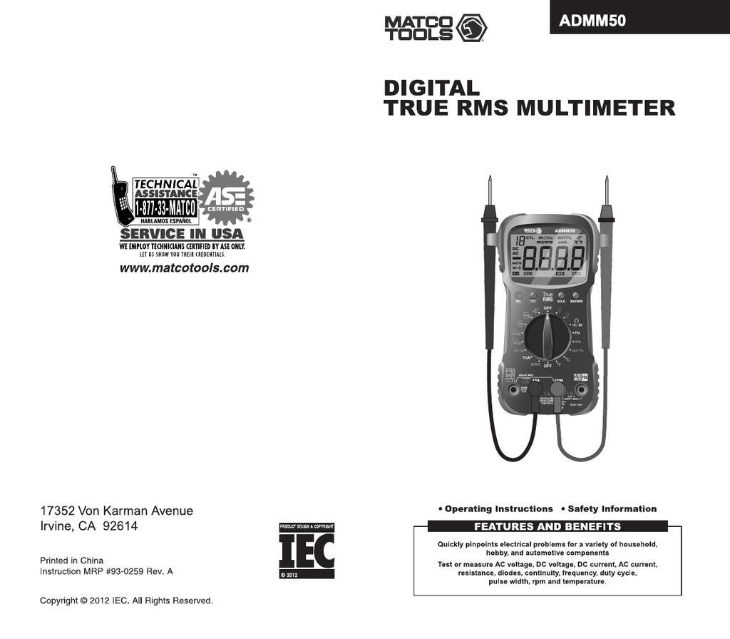 Matco Tools ADMM50 Specifications | manualzz com