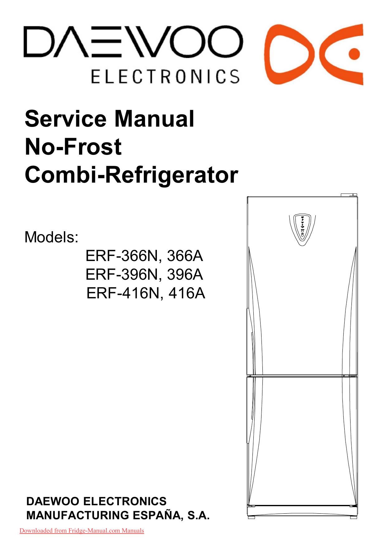 Daewoo ERF-396 User Guide Manual PDF - Fridge | manualzz.com on