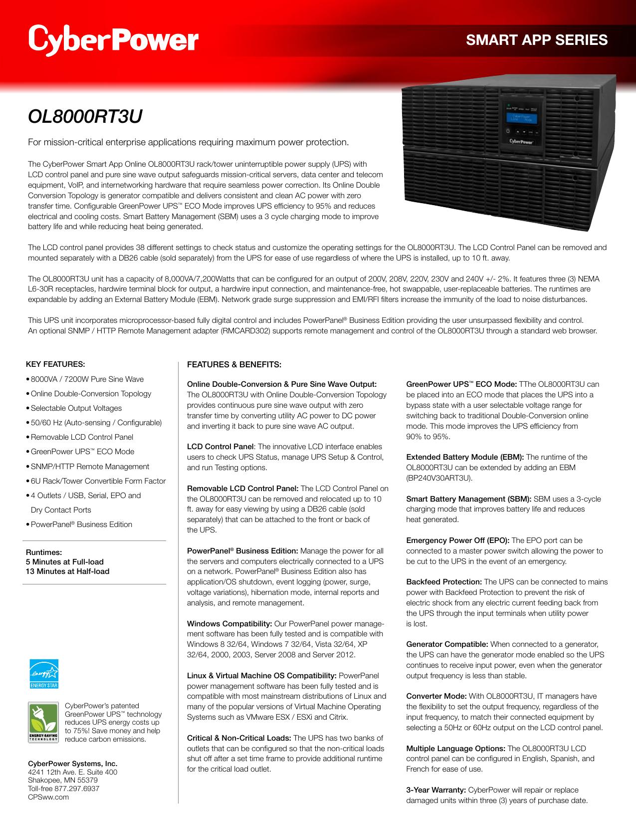 OL8000RT3U - CyberPower | manualzz com