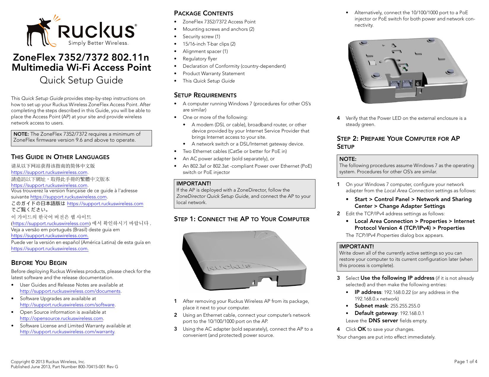 Ruckus Wireless AP ZF2942/7942 Quick Setup Guide | manualzz com