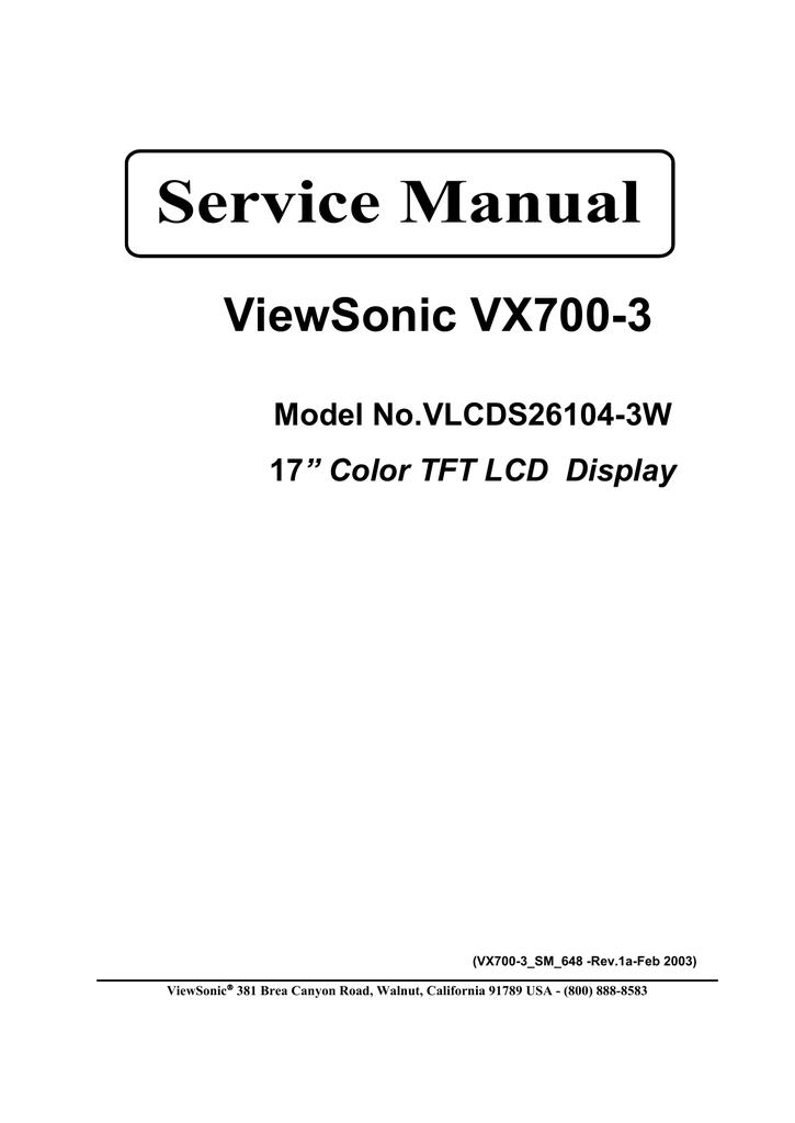 viewsonic vlcds26104 3w service manual rh manualzz com viewsonic pjd5112 service manual viewsonic n3260w service manual