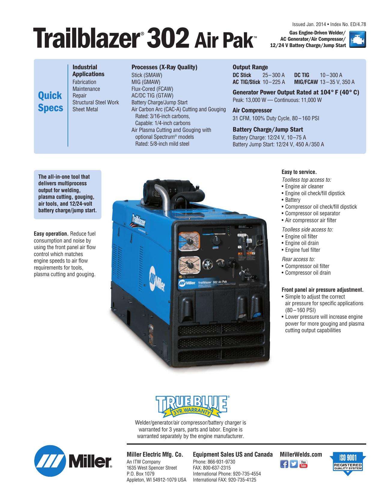 miller electric | mog-pak 6a | trailblazer� 302 air pak