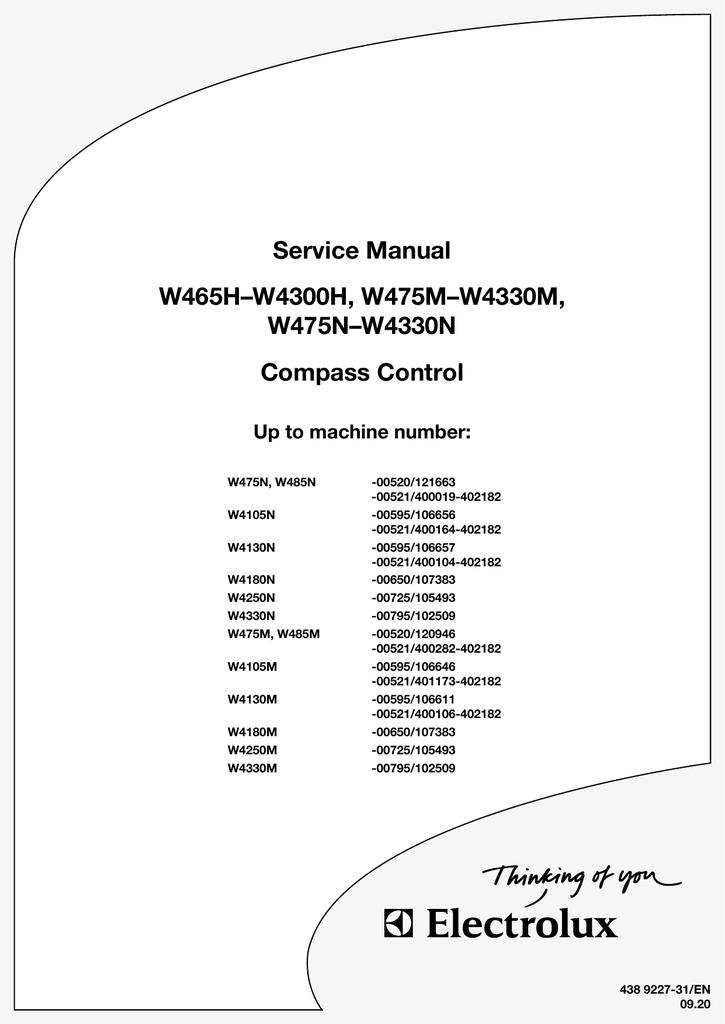 Electrolux w375h manual.