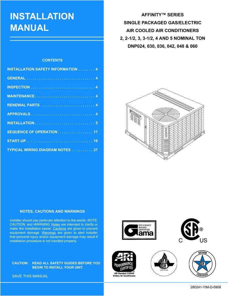york dnp060 installation manual