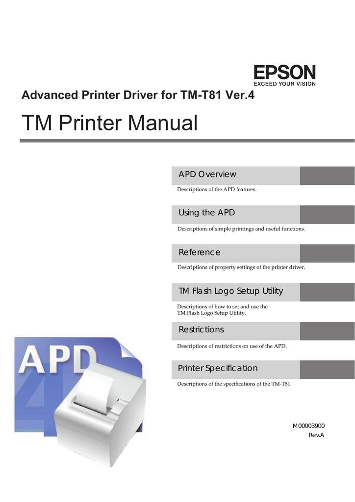 Epson Receipt Printer TM T81 Specifications | manualzz com