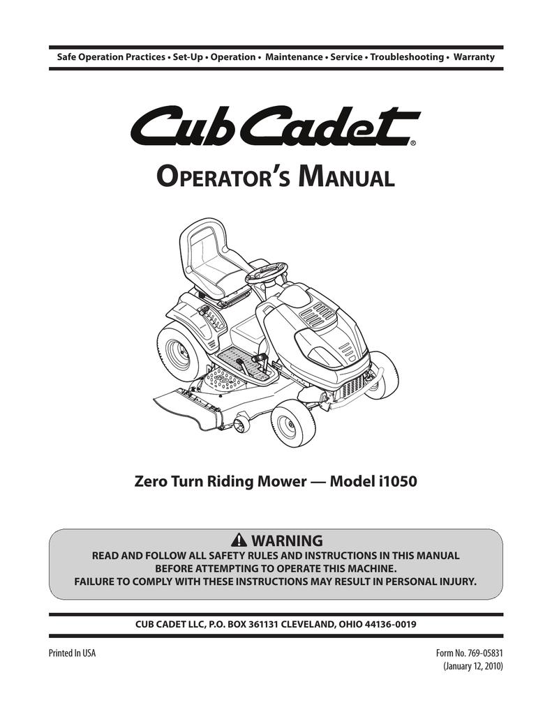 Cub Cadet i1050 Operator`s manual   manualzz.com on