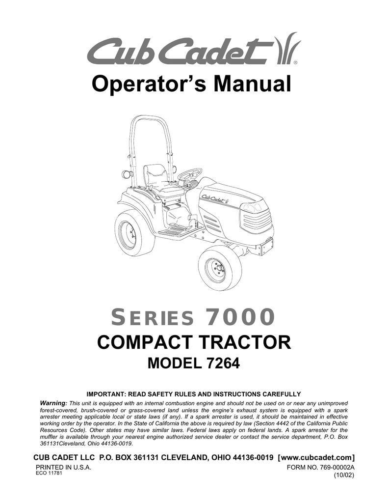 Cub Cadet 7264 User manual | ManualzzManualzz