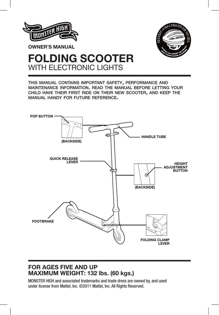 Dynacraft FOLDING Owner`s manual | manualzz com
