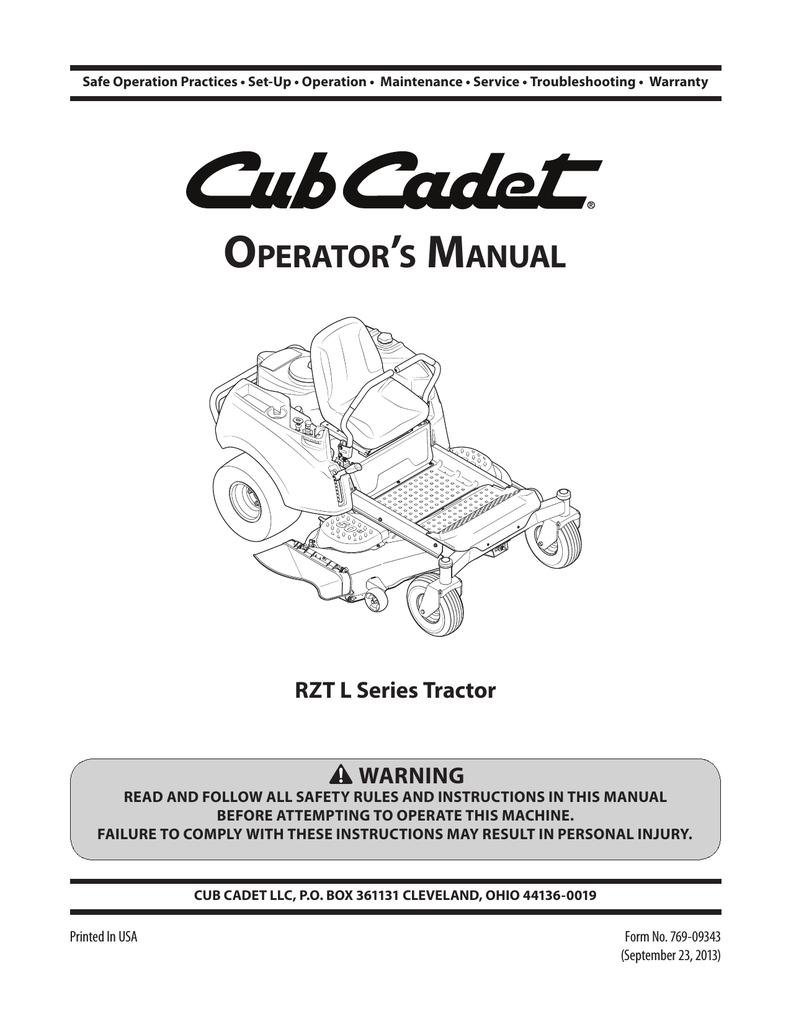 Cub Cadet RZT 54 Operator`s manual | manualzz com