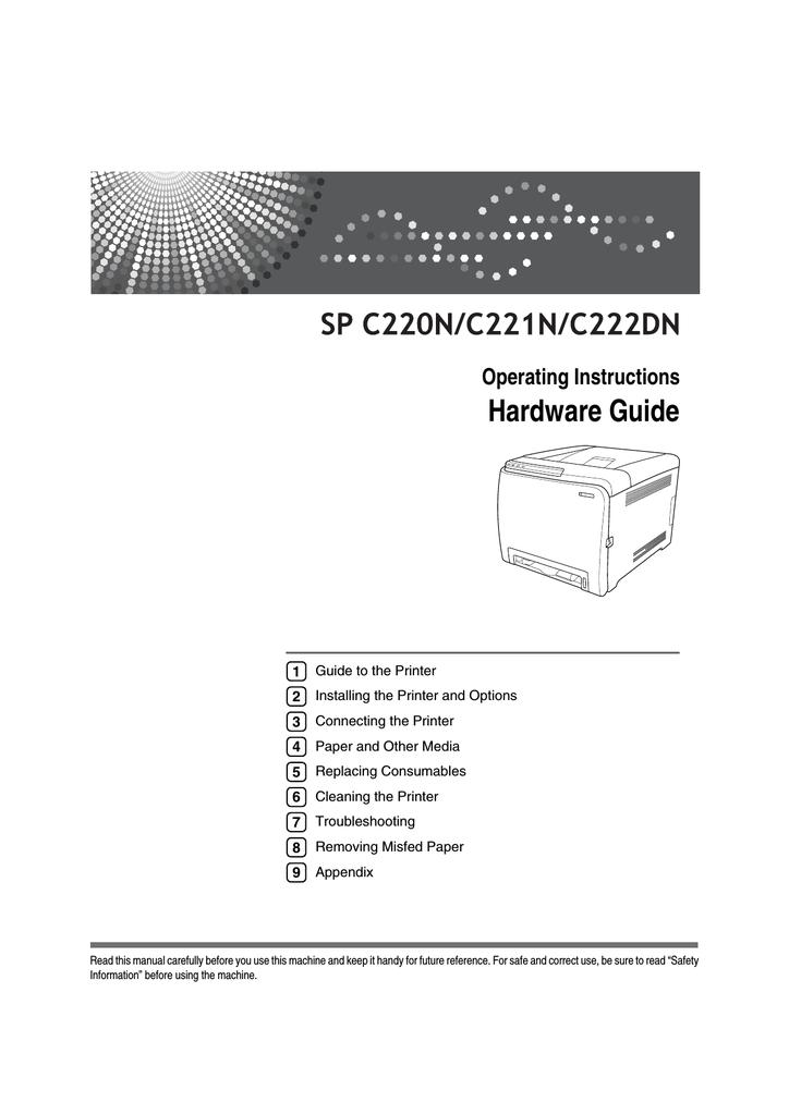 Ricoh C222DN - Aficio SP Color Laser Printer Operating