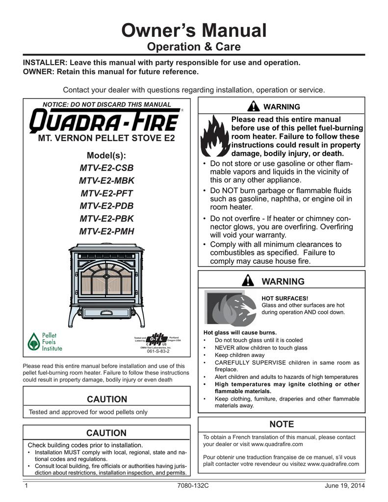 Quadra-Fire MTVERNON-AE-PDB Owner`s manual | manualzz.com on