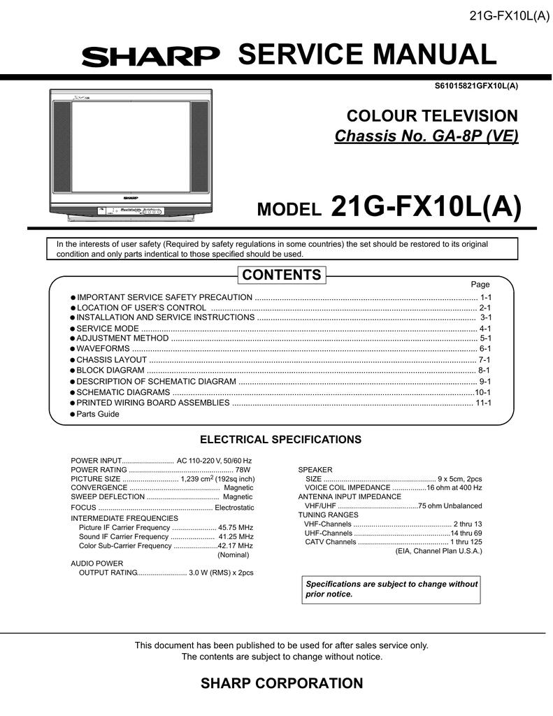 Sharp 21sfx10l Service Manual Colour T V Circuit Diagram