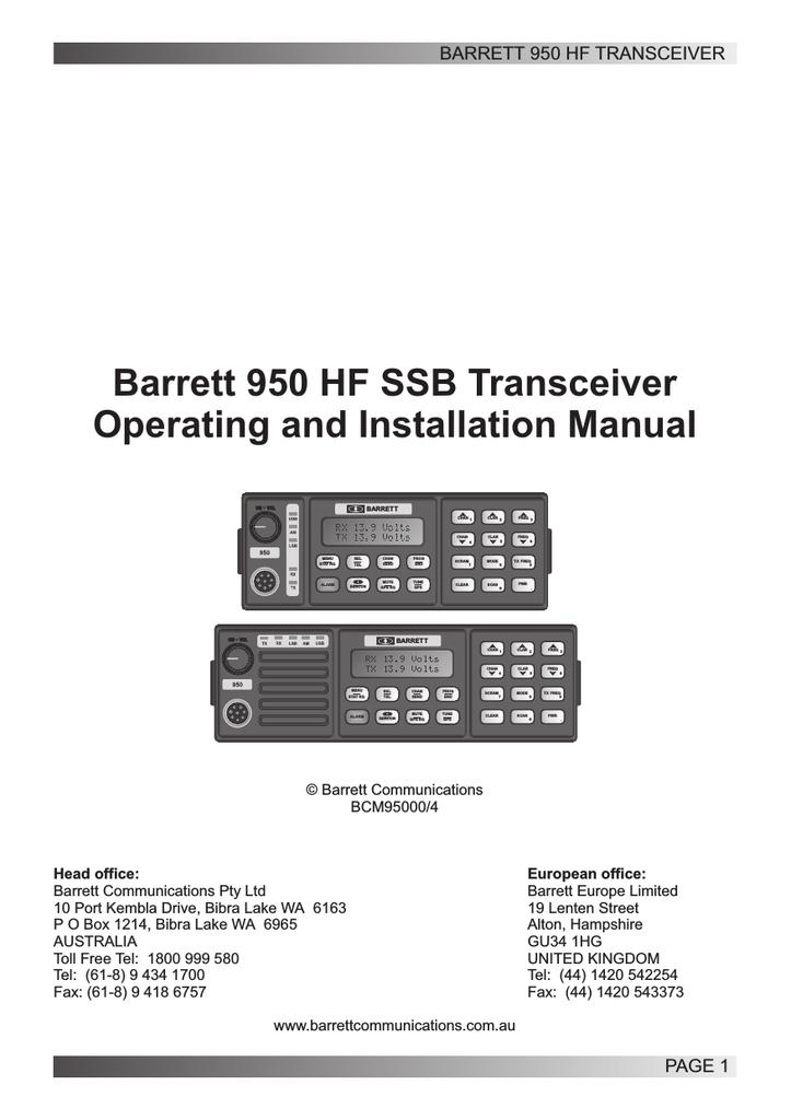 Barrett 960 HF Installation manual   manualzz com