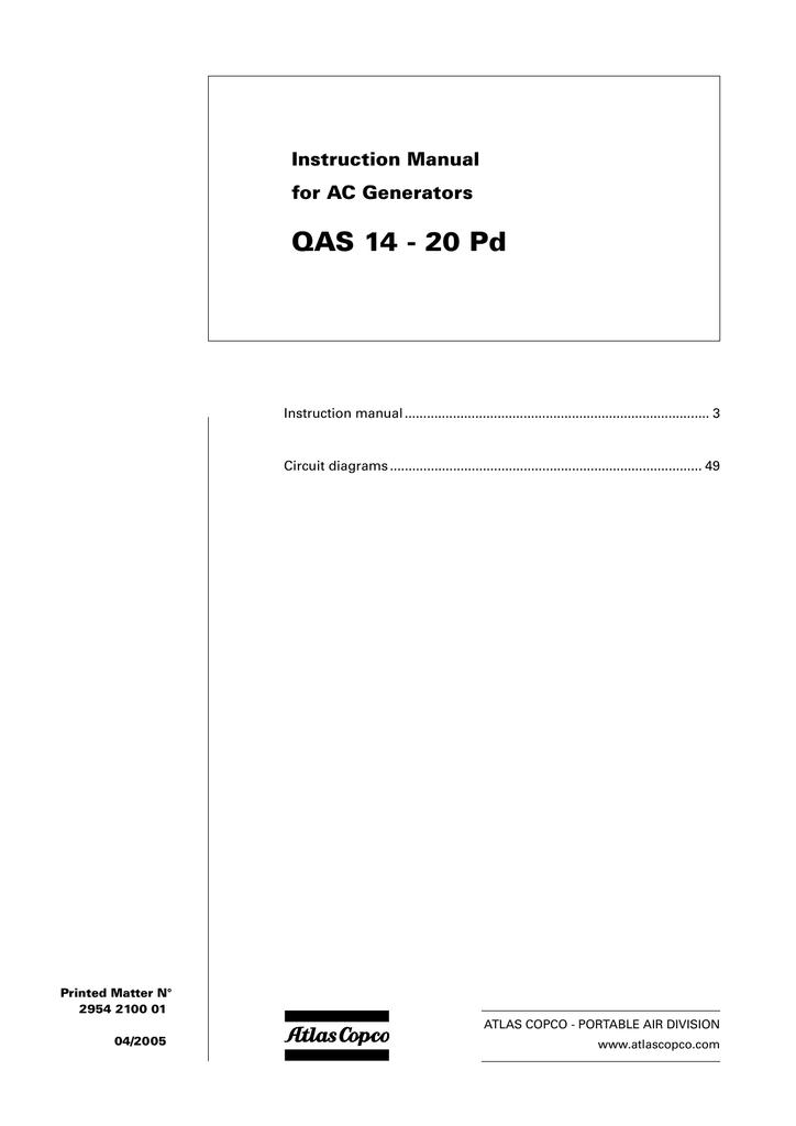Atlas Copco QAS 20 Instruction manual | Manualzzmanualzz