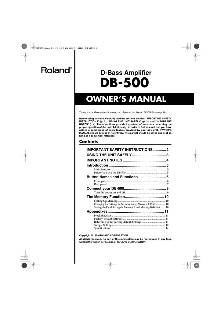 Roland DB-500 Owner`s manual   manualzz com