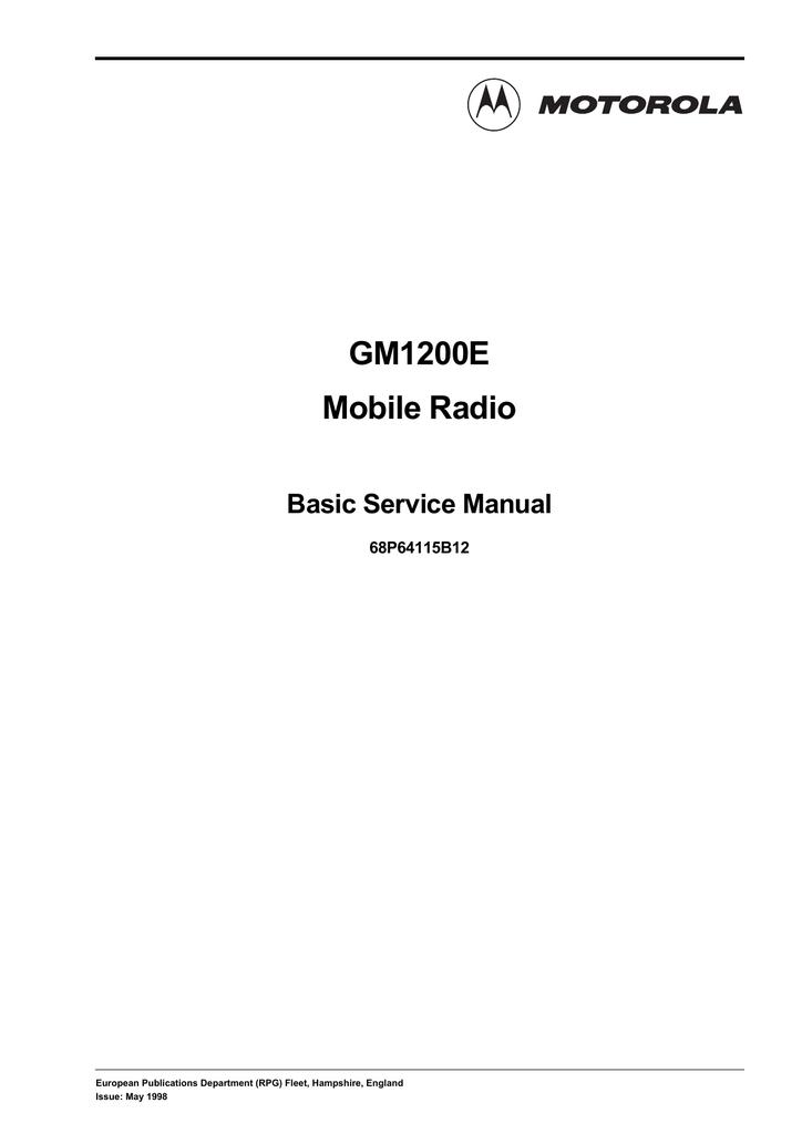 Motorola GM1200E Service manual | manualzz com