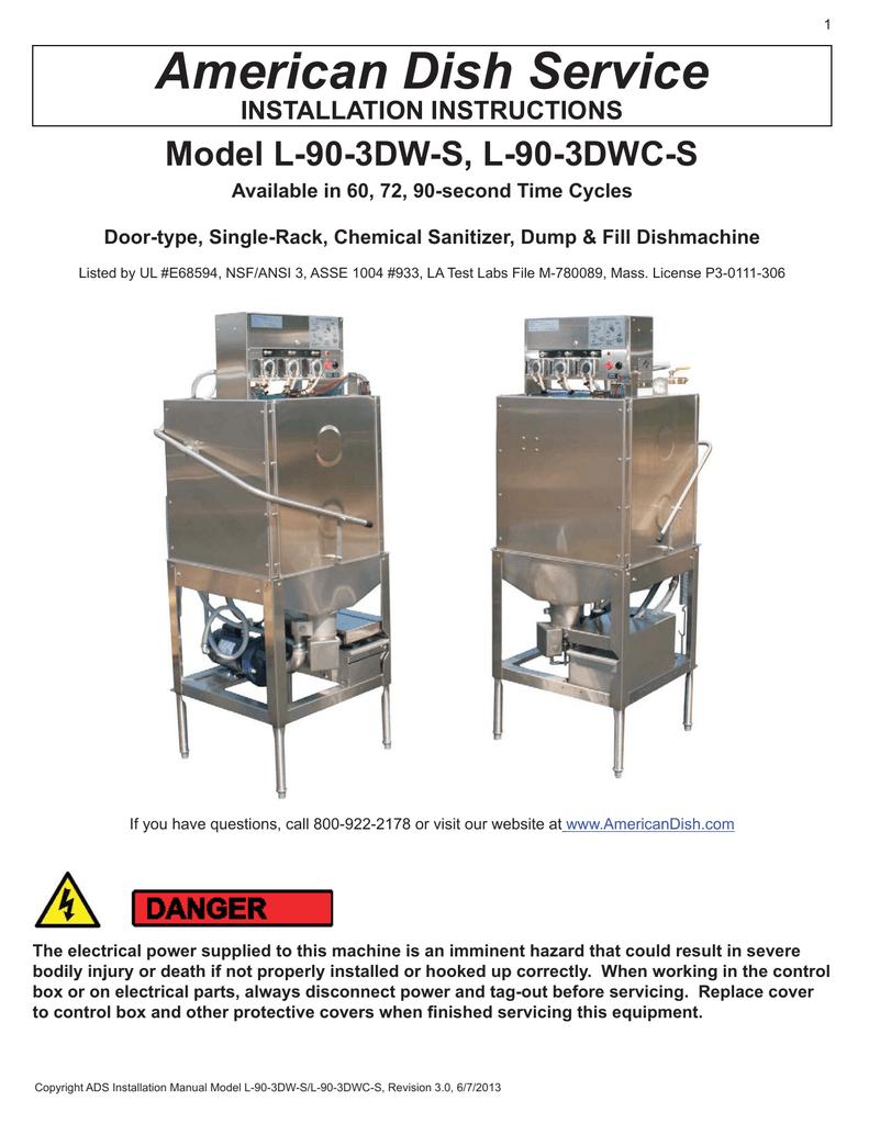 American Dish Service LW Installation Manual   Manualzz   Ads Dish Machine Wiring Diagram      Manualzz