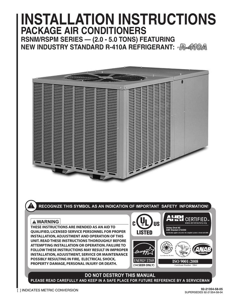 Rheem Central Air Conditioning Wiring Diagram
