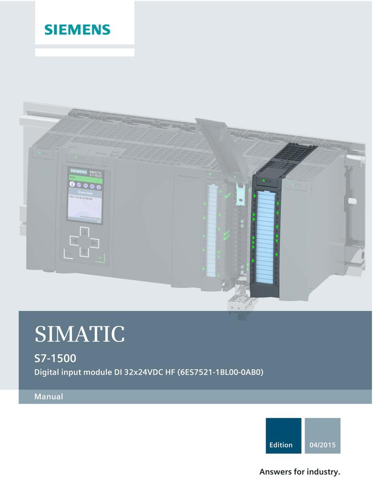 Siemens Simatic 6ES7521-1BL00-0AB0 DI 32x24VDC HF S7-1500