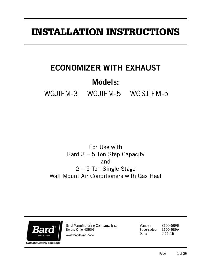 Bard Wg5s Series Installation Manual Economizer Wiring Diagram