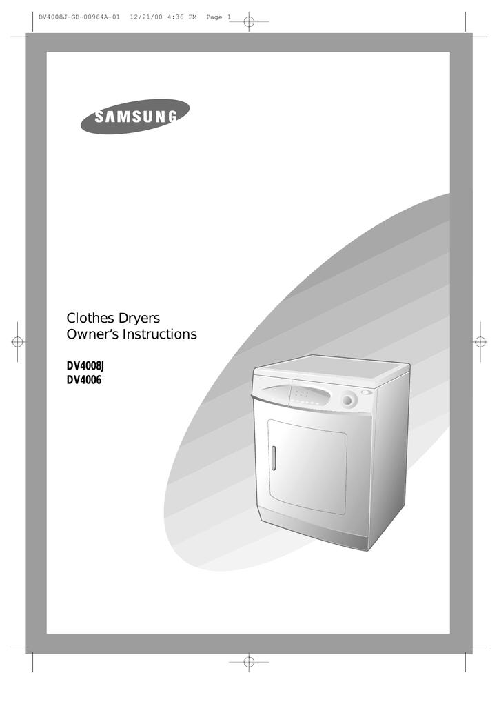 samsung dv4006j operating instructions rh manualzz com samsung dv4006 dryer service manual Samsung Dryer Parts Manual