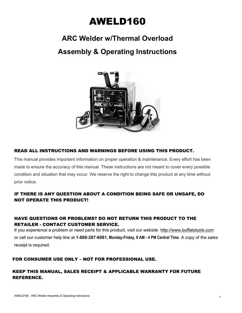 Buffalo tools aweld160 operating instructions publicscrutiny Gallery