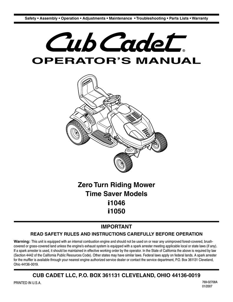 Cub Cadet i1046 Operator`s manual | manualzz com