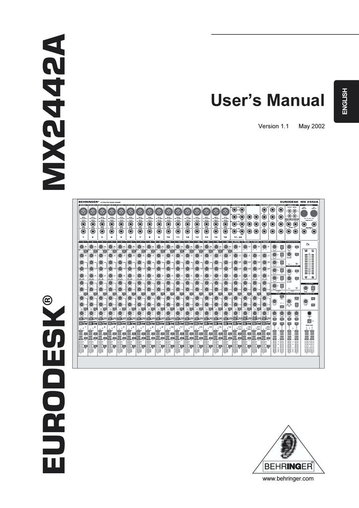 Behringer MX2442A User`s manual | manualzz.com on