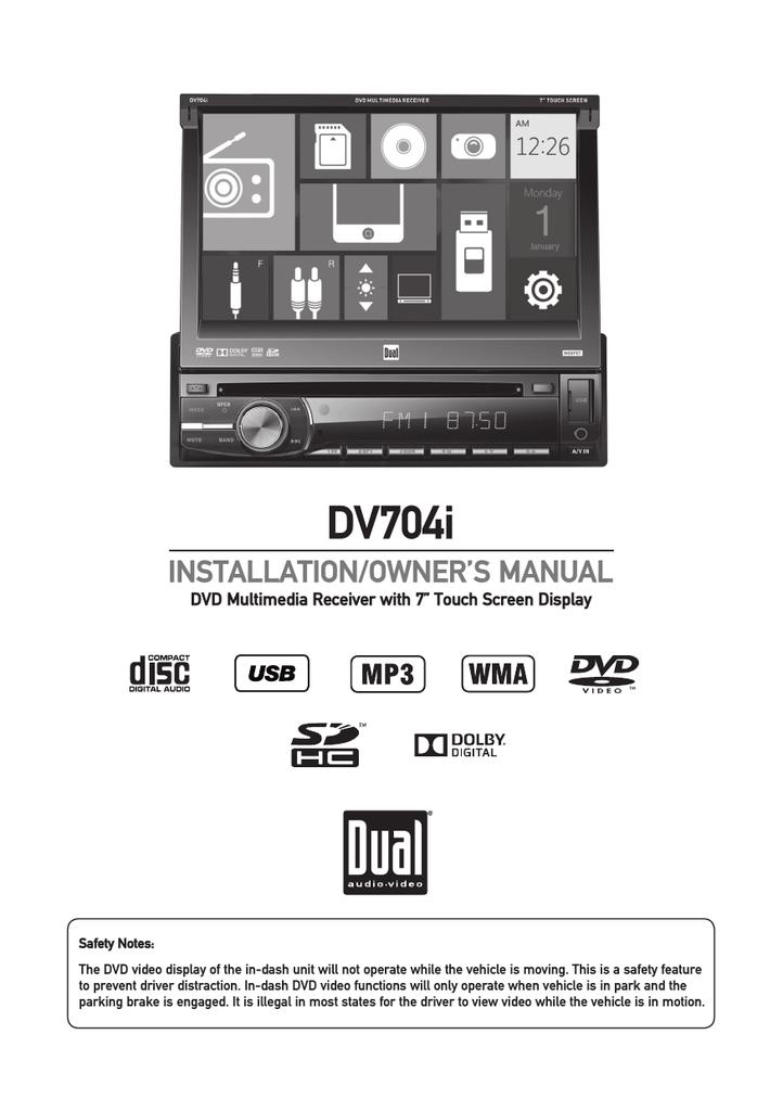 Dual DV704i Owner`s manual | manualzz.com on dual dvd710 xcd, dual iplug car adapter, dual xdvdn9131 parking brake bypass, dual xdvd210,